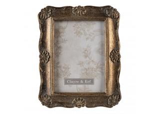 Zlatý retro zdobený fotorámeček s patinou - 14*2*19 cm / 10*15 cm