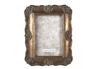 Zlatý fotorámeček s patinou a zdobením - 17*2*21 cm / 10*15 cm