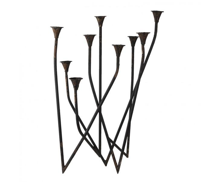 Tmavě hnědý kovový svícen na 9 svíček - 55*36*76 cm