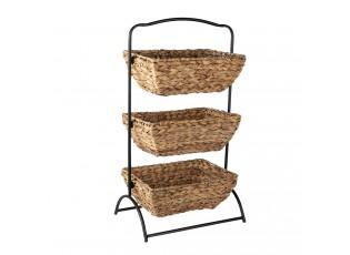 Kovový stojan se 3 pletenými košíky - 39*27*70 cm