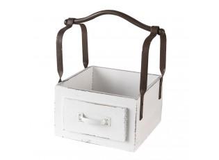 Bílá dřevěná retro bedýnka s rukojetí - 24*19*28 cm