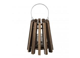 Hnědá dřevěná závěsná lucerna Cosy - Ø 21*25 cm