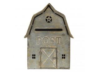 Šedá retro poštovní schránka ve tvaru domu Post - 26*11*35 cm