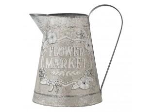 Dekorativní béžový džbán Flower market s patinou - 17*17*23 cm
