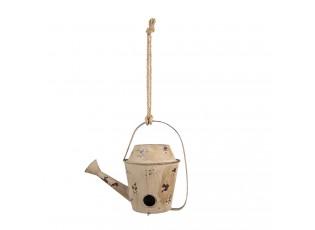 Hnědá kovová ptačí budka ve tvaru konve - 35*20*29/60 cm