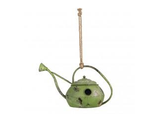 Zelená kovová ptačí budka ve tvaru konévky - 46*26*27/54 cm