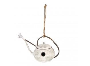 Krémová kovová ptačí budka ve tvaru kropáčku - 46*26*27/54 cm
