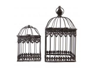 2ks Černá kovová dekorativní klec - 18*18*33 / 14*14*22 cm
