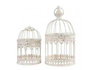 2ks Krémová kovová dekorativní klec na ptáčky - Ø 15*26 / Ø 12*18 cm
