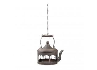 Šedé kovové ptačí krmítko ve tvaru konvice - 24*20*30/61 cm