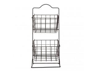 Drátěný stojan se 2 košíky - 25*25*57 cm