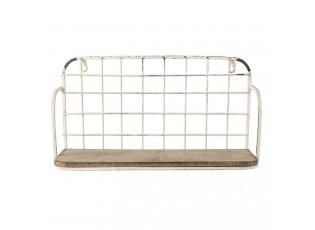Nástěnný bílý kovový stojan s dřevěnou poličkou a patinou - 41*18*21 cm