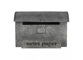 Šedá retro schránka Post News - 35*15*22 cm