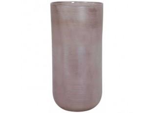 Skleněná proužkovaná růžová váza Tallegna - Ø 20*42 cm