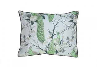 Světle modrý / šedý polštář s pávy a květinami Prisha - 60*45 cm