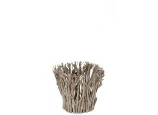 Šedý svícen z dřevěných větviček M - 23 * 29 cm