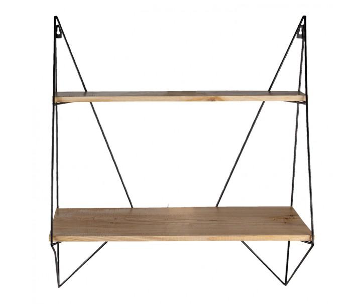 Nástěnný kovový stojan s dřevěnými policemi - 60*20*70 cm