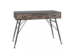 Dřevěný stolík Andrés se šuplíky a kovovou konstrukcí - 116*40*80 cm