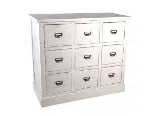 Bílý dřevěný prádelník s patinou a kovovými úchytkami - 102*48*93 cm