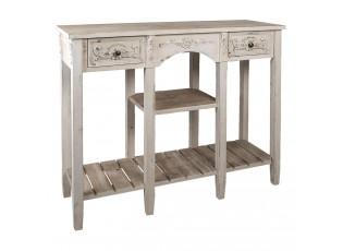 Bílý vintage dřevěný stolek Benedicto - 125*40*97 cm
