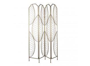 Zlatý kovový paravan s motivem listů - 140*180 cm