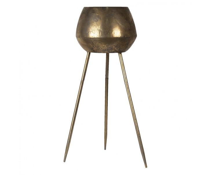 Zlatý kovový stolek Di na květiny s patinou - Ø 24*69 cm