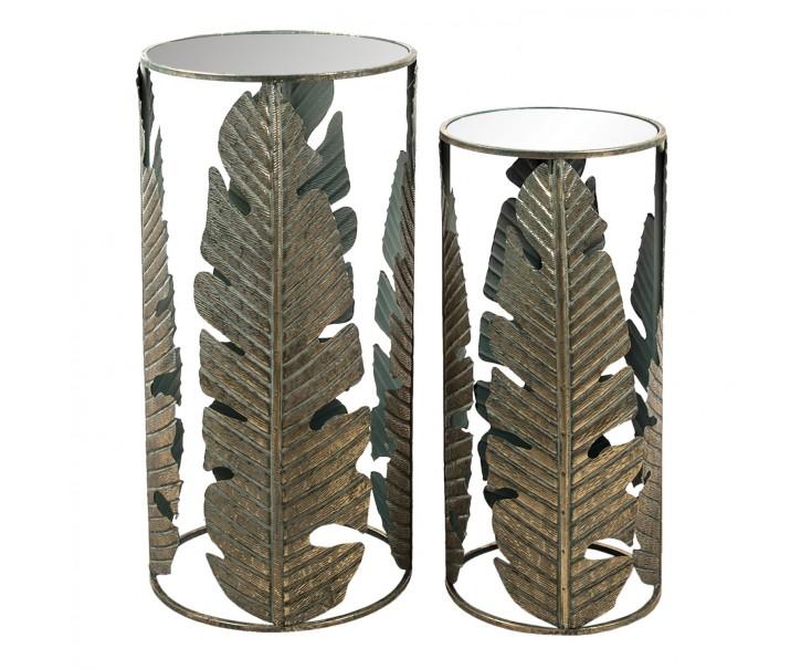 Kovové odkládací stolky s listy po obvodu (2 ks)- Ø 39*82 / Ø 31*72 cm