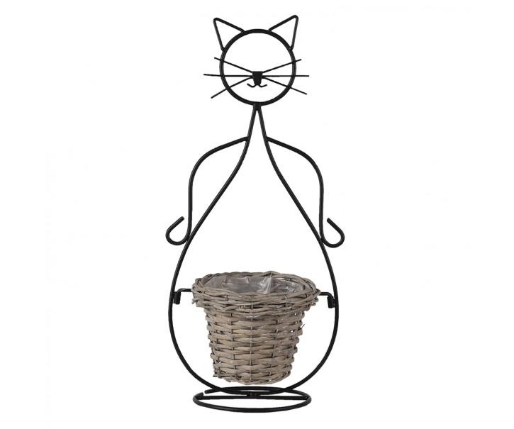 Ratanový pletený obal na květináč s kovovou kočkou - 24*17*51 cm