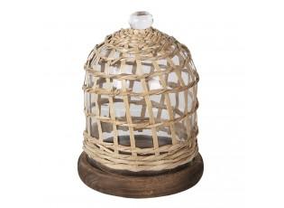 Hnědý talíř se skleněným poklopem s pleteným obalem - Ø 17*20 cm