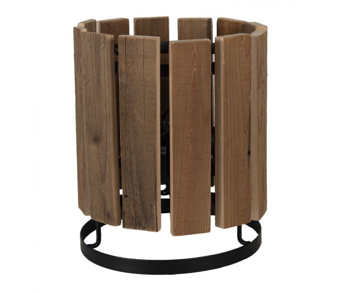 Dřevěná stolní lampa s kovovou konstrukcí - Ø 25*30 cm E27/max 1*60W