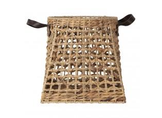 Pletený košík Juan s koženkovými uchy - 37*37*37 cm