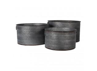 Plechové šedé obaly na květináče Roquo (sada 3 ks ) - Ø 51*30 / Ø 46*26 / Ø 41*23 cm