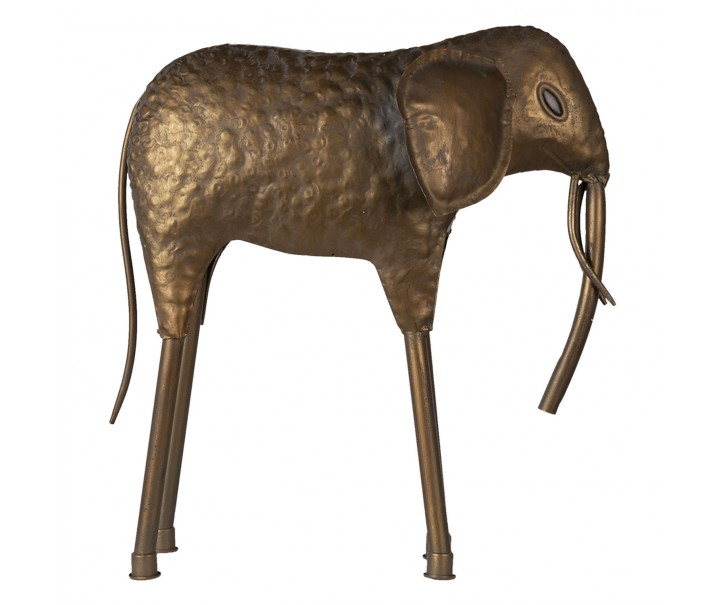 Zlatá kovová soška slonka - 50*16*50 cm