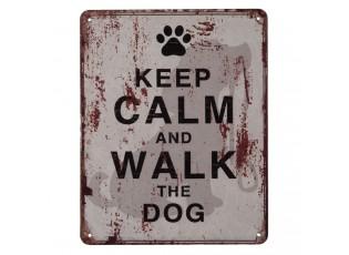 Nástěnná kovová cedule Keep Calm Walk a Dog - 20*25 cm