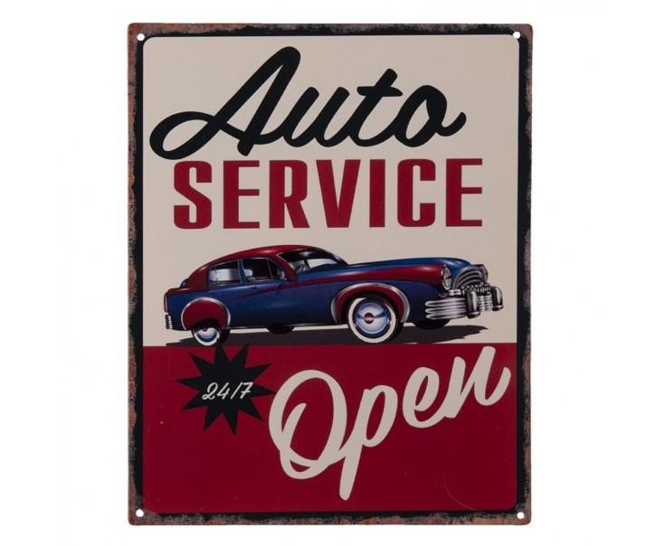 Nástěnná kovová cedule Auto Service Open - 25*20 cm