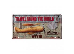 Nástěnná kovová cedule s letadlem Travel Round - 22*42 cm