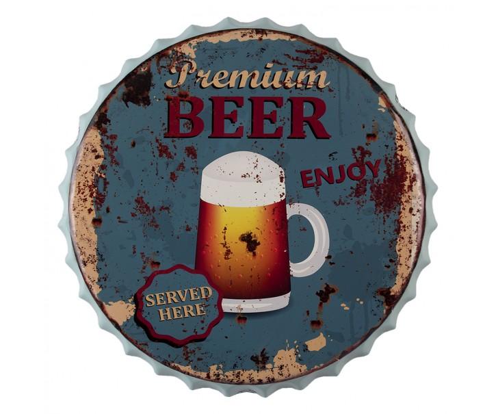 Nástěnná kovová cedule Beer here - Ø 50 cm