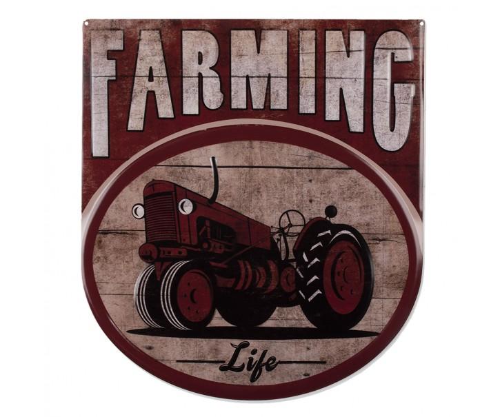Nástěnná kovová cedule Farming Life - 50*56 cm