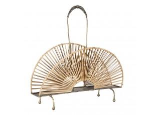 Zlatý kovový stojan na noviny s přírodním výpletem - 40*23*41 cm