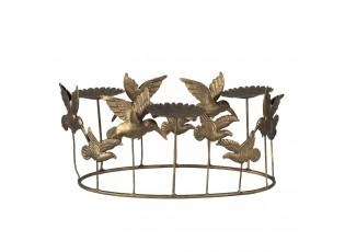 Zlatá kovová dekorace s ptáčky a květy - 37*22*19 cm
