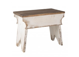 Bílý dřevěný stolík Ania s patinou na květiny - 47*29*38 cm