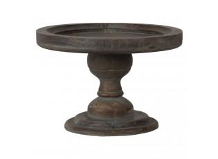 Hnědý dřevený odkládací talířek na noze - Ø 24*16 cm
