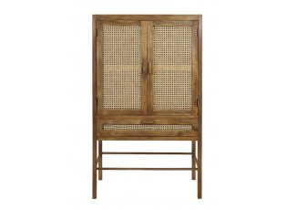 Dřevěná komoda Nipas s bambusovým výpletem - 90*45*160cm