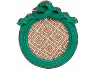 Zelený kulatý dřevěný vintage jehelníček - 9,5 * 3* 10,5 cm