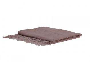 Růžový lněný pléd Medi pink - 170*130 cm