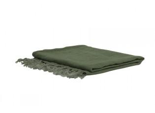 Zelený lněný pléd Medi green - 170*130 cm