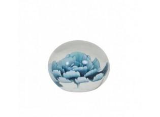 Kulaté skleněné těžítko Flower s modrou květinou - Ø 8*6 cm