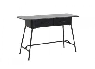 Černý kovový stolík Catamara se šuplíky a patinou - 120*45,5*75,5 cm