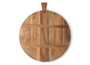 Kulaté servírovací prkénko z teakového dřeva - 58*50*1,5cm