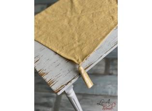 Žlutý běhoun na stůl s třásněmi - 50*160 cm
